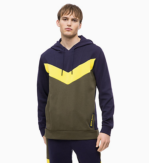 CALVIN KLEIN Pullover Hoodie - FOREST NIGHT/EVENING BLUE/GOLDEN KIWI - CALVIN KLEIN SPORT - main image