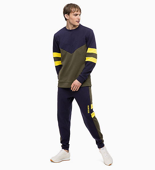 CALVIN KLEIN Colourblocked Sweatshirt - FOREST NIGHT/EVENING BLUE/GOLDEN KIWI - CALVIN KLEIN SPORT - detail image 1