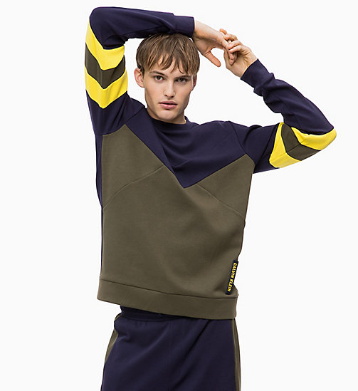 CALVIN KLEIN Colourblocked Sweatshirt - FOREST NIGHT/EVENING BLUE/GOLDEN KIWI - CALVIN KLEIN SPORT - main image