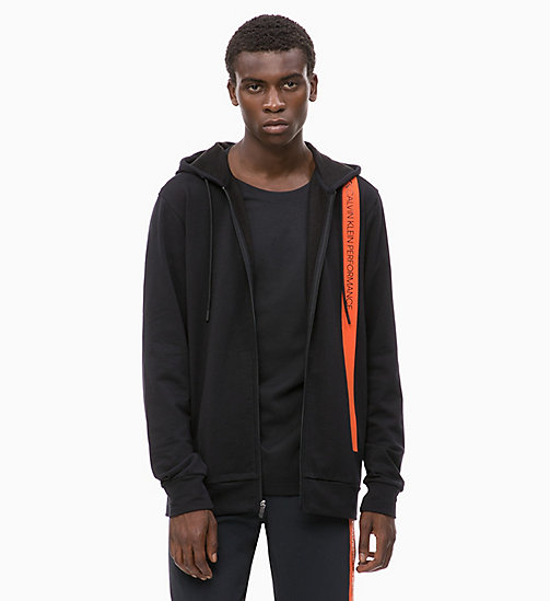 CALVIN KLEIN Zip Through Hoodie - CK BLACK/CHERRY TOMATO - CALVIN KLEIN NEW FOR MEN - main image