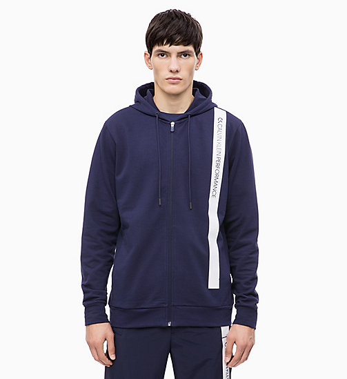 CALVIN KLEIN Zip Through Hoodie - EVENING BLUE/BRIGHT WHITE - CALVIN KLEIN NEW FOR MEN - main image