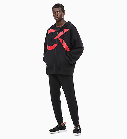 CALVIN KLEIN Logo Zip Through Hoodie - CK BLACK/RACING RED - CALVIN KLEIN NEW INS - detail image 1