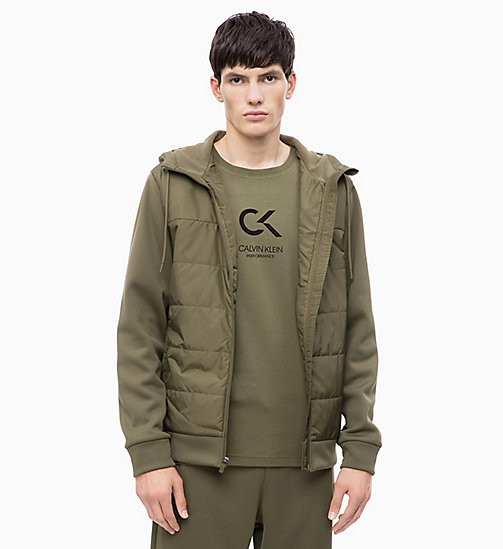 CALVIN KLEIN Padded Zip Through Hoodie - OLIVE NIGHT - CALVIN KLEIN NEW INS - main image