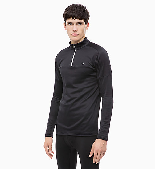 CALVIN KLEIN Long Sleeve Technical Top - CK BLACK - CALVIN KLEIN T-SHIRTS & TANK TOPS - main image