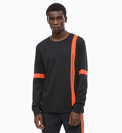 CALVIN KLEIN Long Sleeve T-shirt - CK BLACK/CHERRY TOMATO - CALVIN KLEIN NEW FOR MEN - main image
