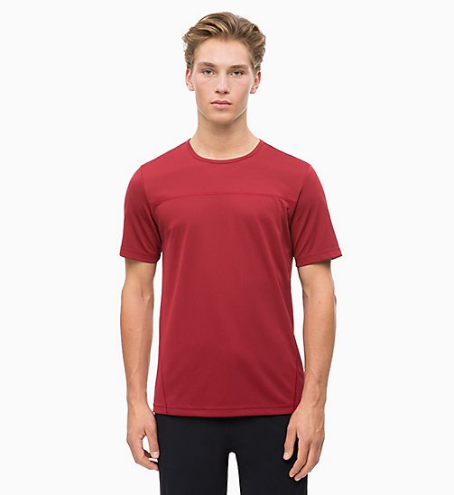 CALVIN KLEIN Mesh Logo T-shirt - MERLOT - CALVIN KLEIN NEW FOR MEN - main image
