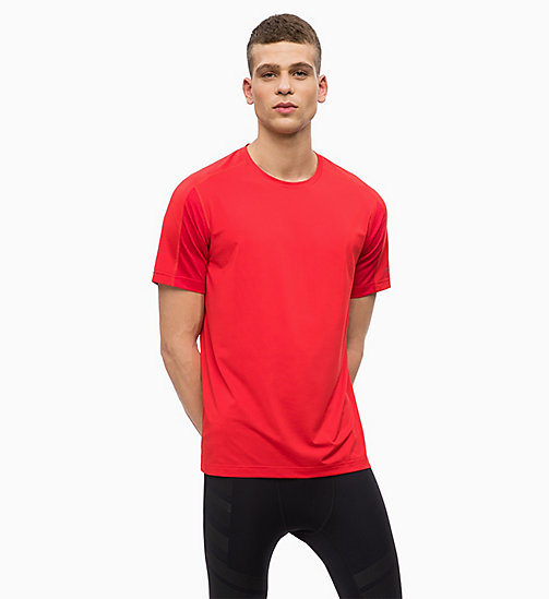 CALVINKLEIN Mesh Panel T-shirt - RACING RED - CALVIN KLEIN WORKOUT - main image