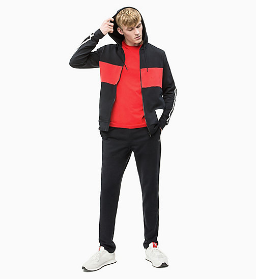 CALVIN KLEIN Zip Through Hoodie - CK BLACK/HIGH RISK RED/COCONUT MILK - CALVIN KLEIN NEW INS - detail image 1