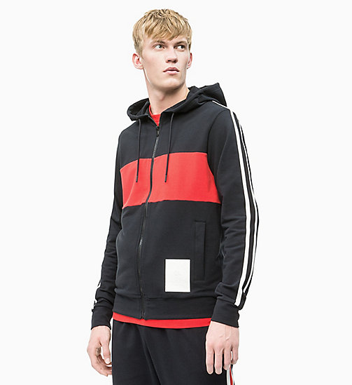 CALVIN KLEIN Zip Through Hoodie - CK BLACK/HIGH RISK RED/COCONUT MILK - CALVIN KLEIN NEW INS - main image