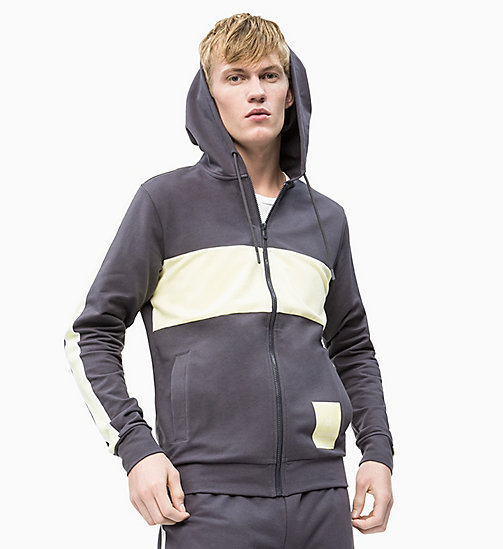 CALVIN KLEIN Zip Through Hoodie - GUNMETAL/WAX YELLOW/COCONUT MILK - CALVIN KLEIN NEW INS - main image