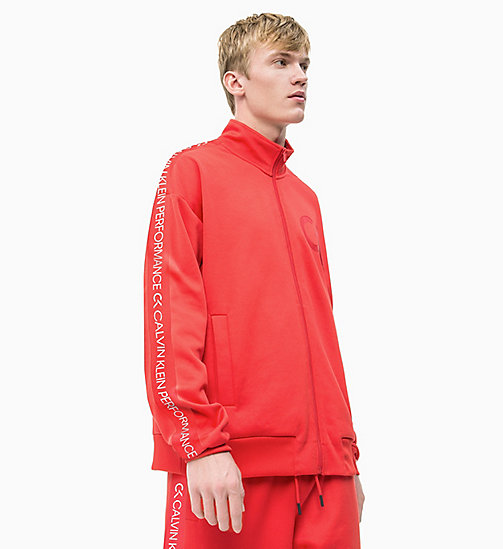 CALVIN KLEIN Zip Through Tracksuit Jacket - HIGH RISK RED/COCONUT MILK - CALVIN KLEIN NEW INS - main image