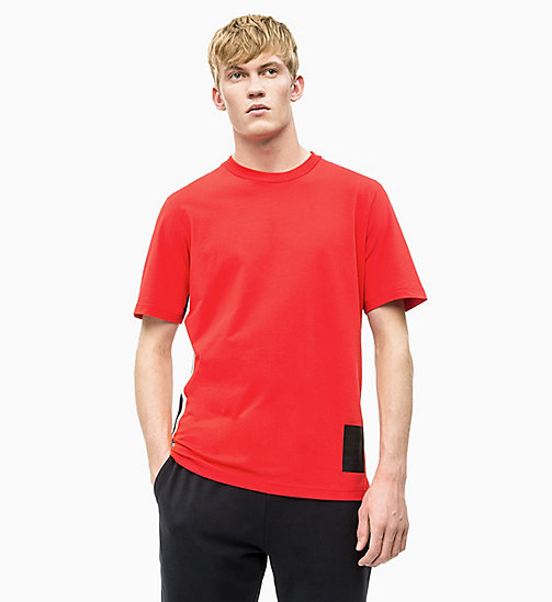 CALVIN KLEIN Side Stripe T-shirt - HIGH RISK RED/CK BLACK/COCONUT MILK - CALVIN KLEIN NEW INS - main image