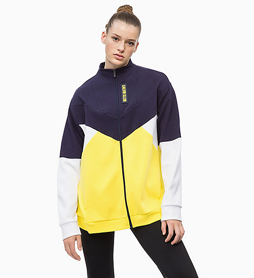 CALVIN KLEIN Zip Through Hoodie - EVENING BLUE/GOLDEN KIWI/BRIGHT WHITE - CALVIN KLEIN SPORT - main image