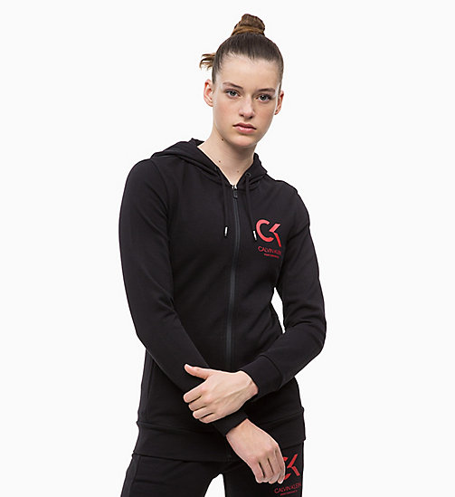 CALVINKLEIN Zip Through Hoodie - CK BLACK - CALVIN KLEIN NEW FOR WOMEN - main image