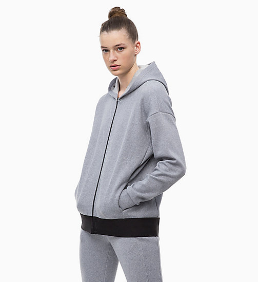 CALVINKLEIN Zip Through Hoodie - MEDIUM GREY HEATHER - CALVIN KLEIN NEW FOR WOMEN - main image