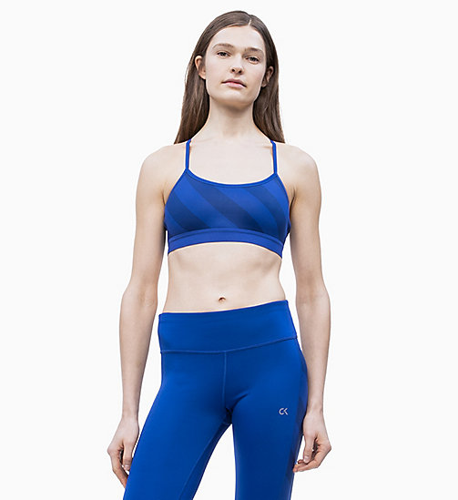 CALVIN KLEIN Low Impact Strappy Sports Bra - MAZARINE BLUE - CALVIN KLEIN NEW FOR WOMEN - detail image 1