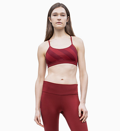 CALVIN KLEIN Low Impact Strappy Sports Bra - MERLOT - CALVIN KLEIN NEW FOR WOMEN - detail image 1