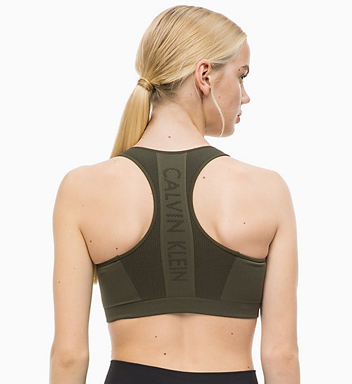 CALVINKLEIN Medium Impact Racerback Sports Bra - FOREST NIGHT - CALVIN KLEIN SPORT - detail image 1
