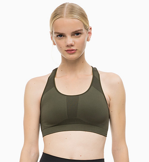 CALVINKLEIN Medium Impact Racerback Sports Bra - FOREST NIGHT - CALVIN KLEIN SPORT - main image