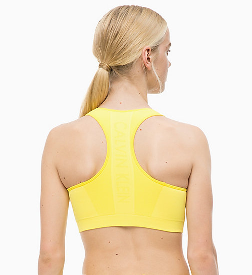 CALVINKLEIN Medium Impact Racerback Sports Bra - GOLDEN KIWI - CALVIN KLEIN SPORTS BRAS - detail image 1