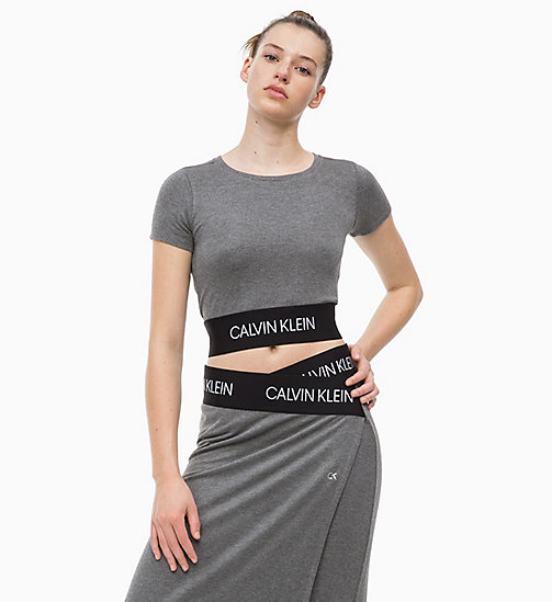 CALVIN KLEIN Cropped Logo-T-Shirt - MEDIUM GREY HEATHER - CALVIN KLEIN SPORT - main image