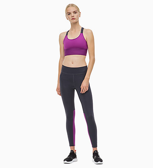 CALVIN KLEIN Medium Impact Strappy Sports Bra - SPARKLING GRAPE - CALVIN KLEIN NEW FOR WOMEN - detail image 1