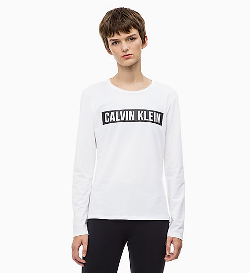 CALVINKLEIN Long Sleeve Logo Top - BRIGHT WHITE - CALVIN KLEIN SPORT - main image