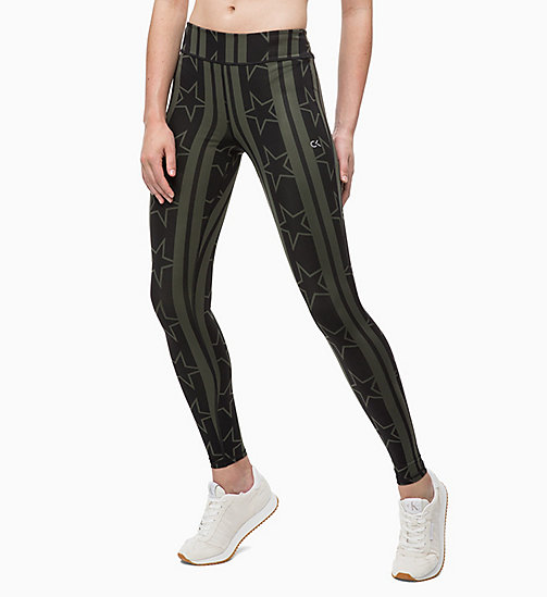 CALVIN KLEIN Sports Leggings - STARS STRIPE_FOREST NIGHT - CALVIN KLEIN SPORT - main image