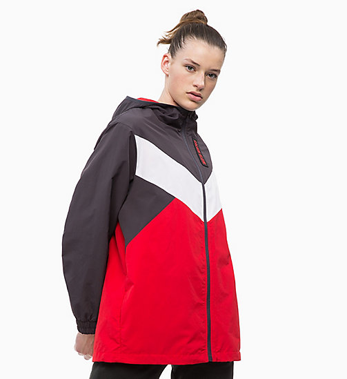 CALVIN KLEIN Tracksuit Jacket - GUNMETAL/BRIGHT WHITE/RACING RED - CALVIN KLEIN SPORT - main image