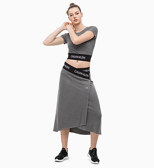CALVIN KLEIN Wrap Midi Skirt - MEDIUM GREY HEATHER - CALVIN KLEIN SPORT - detail image 1