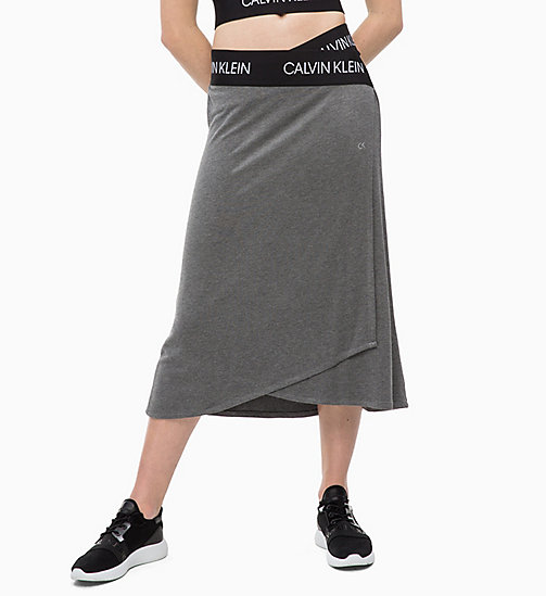 CALVIN KLEIN Midi wikkelrok - MEDIUM GREY HEATHER - CALVIN KLEIN SPORT - main image