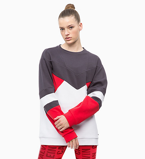 CALVINKLEIN Sweat-shirt - GUNMETAL/BRIGHT WHITE/RACING RED - CALVIN KLEIN SPORT - image principale