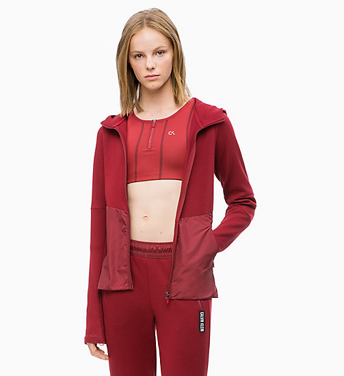 CALVIN KLEIN Zip Through Hoodie - MERLOT - CALVIN KLEIN SWEATSHIRTS & HOODIES - main image