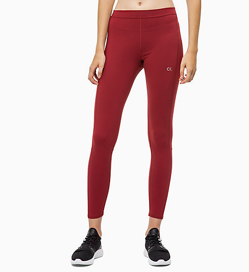CALVIN KLEIN Reflective Sports Leggings - MERLOT - CALVIN KLEIN NEW FOR WOMEN - main image