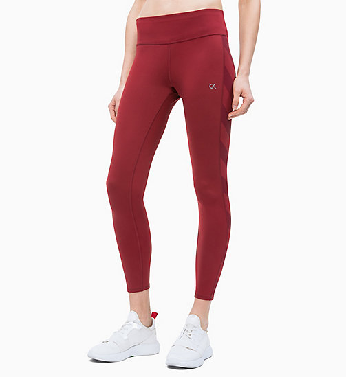 CALVIN KLEIN Cropped Sports Leggings - MERLOT - CALVIN KLEIN NEW FOR WOMEN - main image