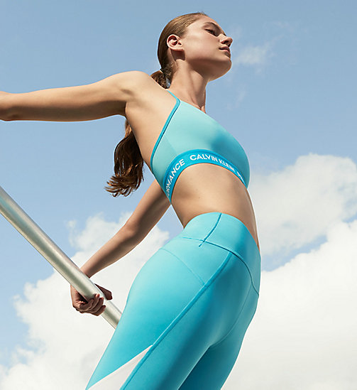 CALVIN KLEIN Cropped Sports Leggings - CYAN BLUE - CALVIN KLEIN NEW INS - main image