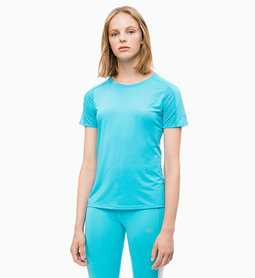 CALVIN KLEIN Mesh Panel T-shirt - EVENING BLUE - CALVIN KLEIN PERFORMANCE - main image