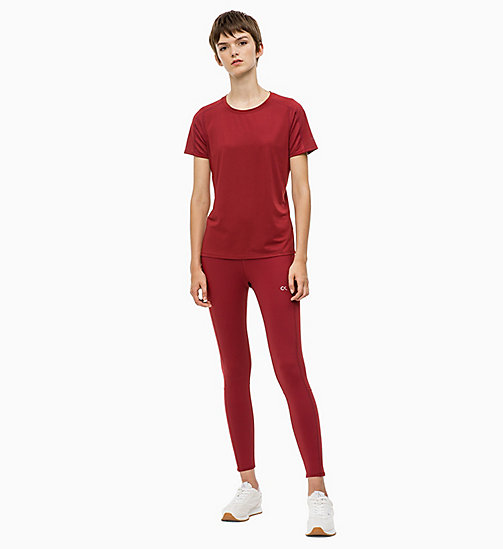 CALVIN KLEIN Mesh Panel T-shirt - MERLOT - CALVIN KLEIN NEW FOR WOMEN - detail image 1