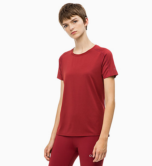 CALVIN KLEIN Mesh Panel T-shirt - MERLOT - CALVIN KLEIN NEW FOR WOMEN - main image