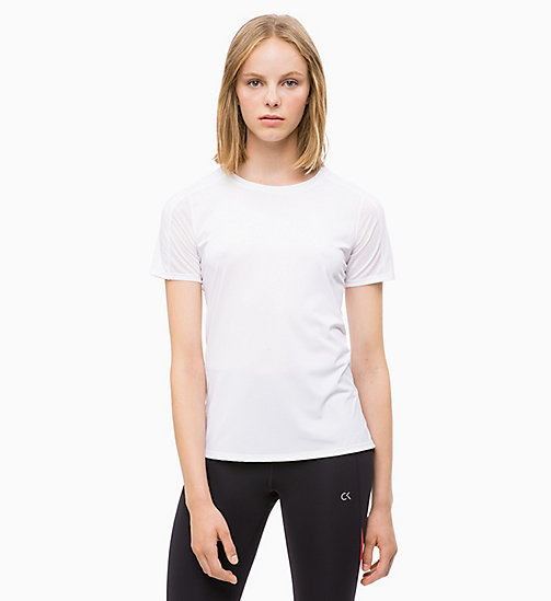 CALVIN KLEIN Mesh Panel T-shirt - BRIGHT WHITE/SAMBA - CALVIN KLEIN NEW FOR WOMEN - main image
