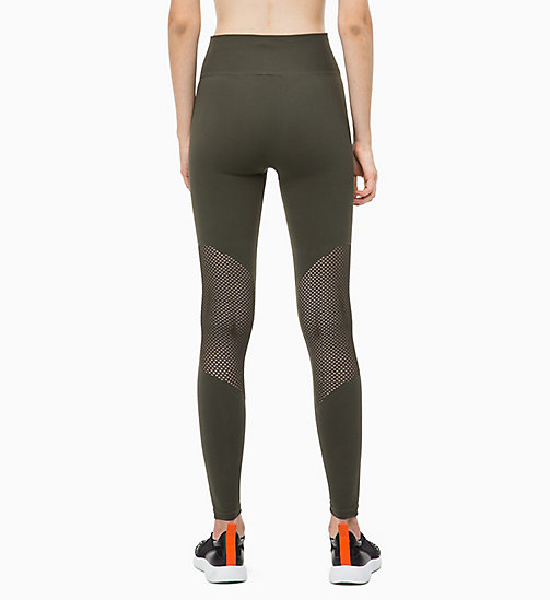 CALVINKLEIN Sport-Leggings mit Mesh-Einsatz - FOREST NIGHT - CALVIN KLEIN Sport-Leggings - main image 1