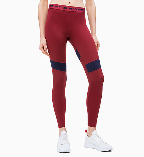 CALVIN KLEIN Colourblocked Sports Leggings - MERLOT - CALVIN KLEIN NEW FOR WOMEN - main image