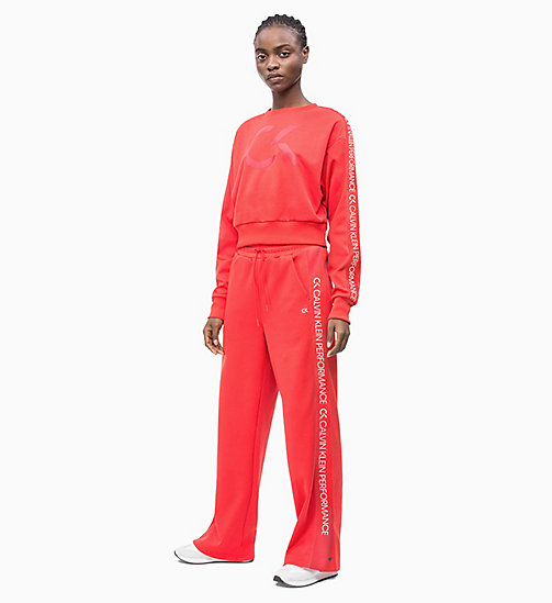 CALVIN KLEIN Side Stripe Tracksuit Bottoms - HIGH RISK RED - CALVIN KLEIN NEW INS - detail image 1