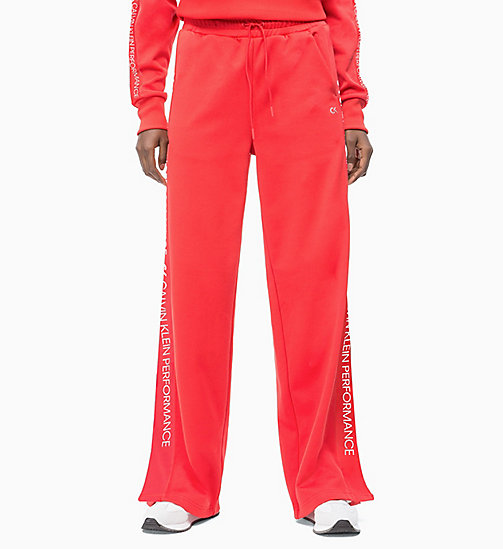 Side Stripe Tracksuit Bottoms - HIGH RISK RED - CALVIN KLEIN NEW INS - main image