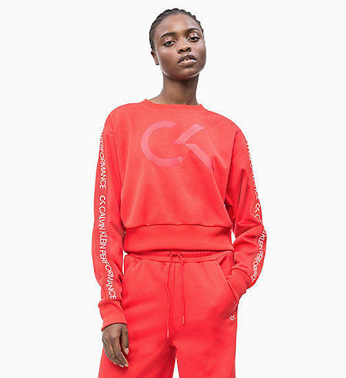 CALVIN KLEIN Cropped Logo Sweatshirt - HIGH RISK RED - CALVIN KLEIN NEW INS - main image