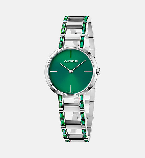 CALVINKLEIN Watch - Calvin Klein Cheers - SILVER/GREEN - CALVIN KLEIN WATCHES - main image