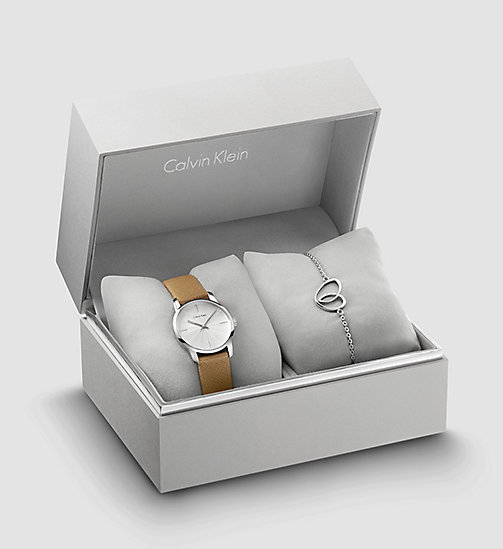 CALVIN KLEIN Watch and Bracelet Gift Set - SST/ BROWN LEA / SILVER - CALVIN KLEIN WATCHES - main image