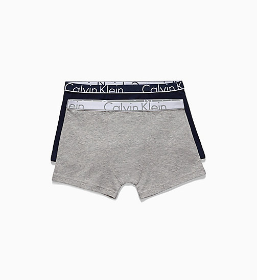 CALVIN KLEIN 2 Pack Boys Trunks - Modern Cotton - 1 GREY HEATHER/ 1 BLUE SHADOW - CALVIN KLEIN BOYS - main image