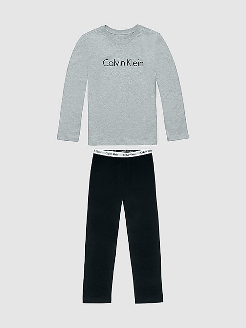 CALVINKLEIN Boys PJ Set - Modern Cotton - GREY HEATHER W/ BLACK - CALVIN KLEIN PYJAMAS - detail image 1