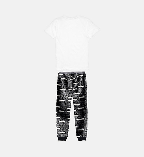 CALVINKLEIN Boys PJ Set - Customized Stretch - WHITE W/ CLVIN HTML BLK - CALVIN KLEIN PYJAMAS - detail image 1